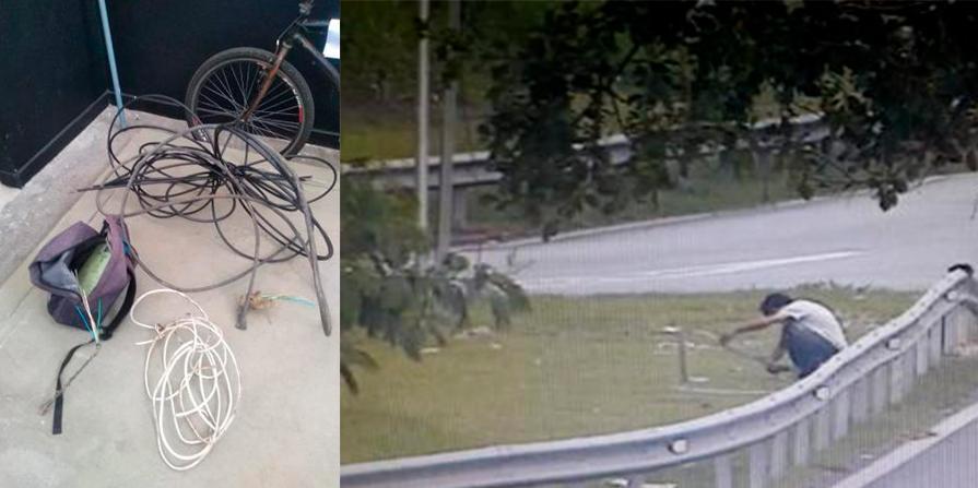 Homem tentava levar fios na avenida Bandeirantes e foi impedido por equipe da GCM / Divulgação PMS