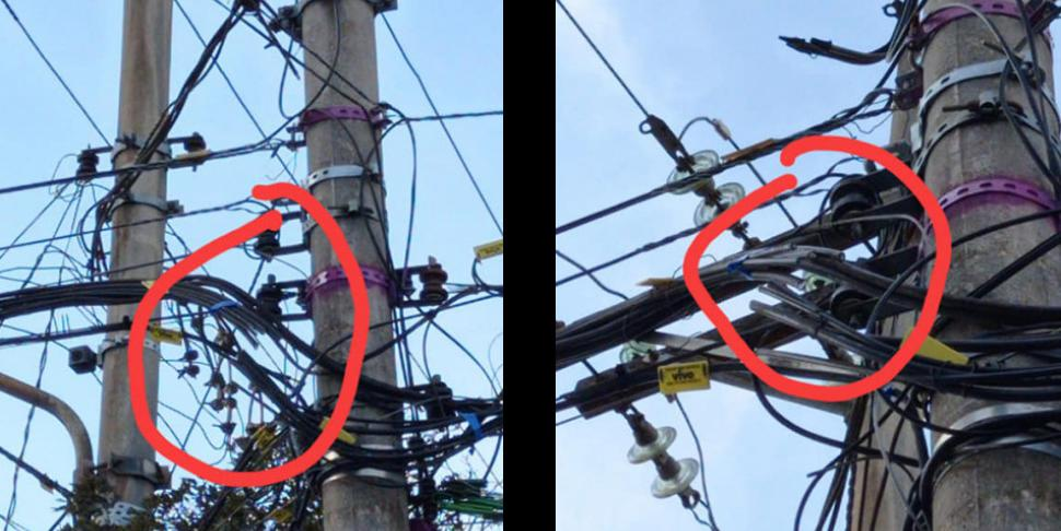 Cabos de internet foram cortados de postes na região central, motivo ainda não foi elucidado (Imagem: Reprodução / Facebook / Blog do Mogiano)