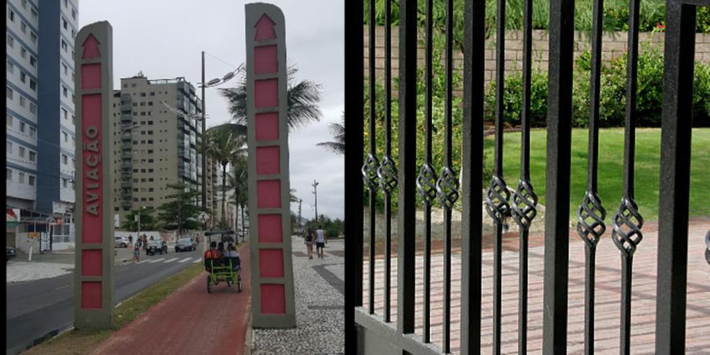 Portal do bairro Aviação, em Praia Grande; e imagem ilustrativa de portão (Imagens: Portal Aviação / Google Street View / Leandro Miranda / Portão: istock)