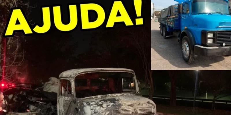 Caminhão de trabalhadores é queimando por manifestantes (Arquivo Pessoal)
