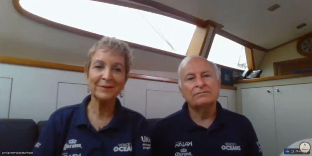 Heloísa e Vilfredo ressaltaram preocupação com limpeza dos mares (Reprodução/ TV Cultura Litoral)